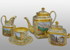 Fragment of the coffee-set, porcelain, Chodov, around 1845